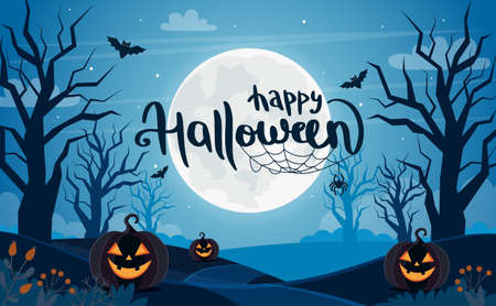 Halloween background with full moon, pumpkins and lettering