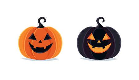 Halloween pumpkins, spooky jack o lantern isolated on white background Ilustracje wektorowe