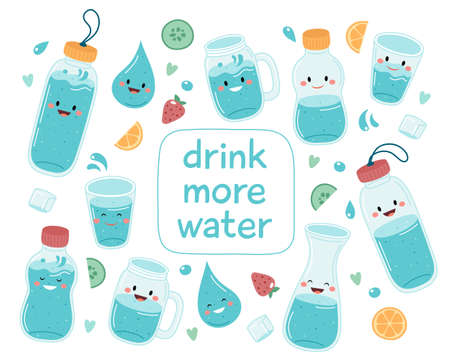 Drink more water. Cute bottles and glasses collection with lettering Vetores