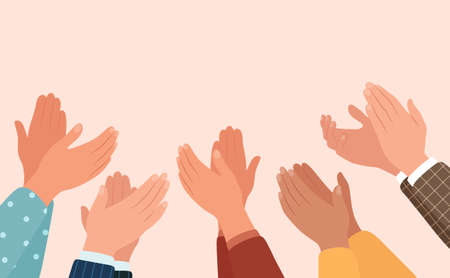 Clapping hands, different people applaud. Vector illustration in flat style