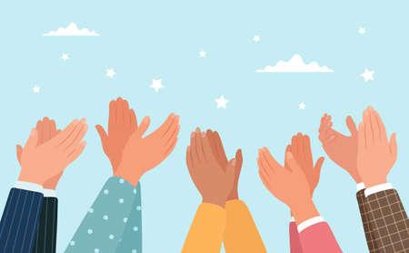 Clapping hands, different people applaud. Vector illustration in flat style Ilustración de vector