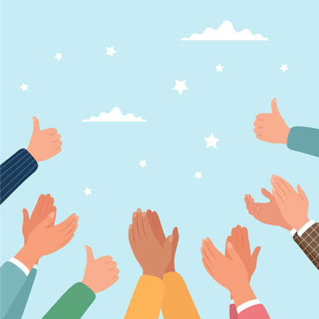 Approval, clapping hands and thumbs up. Vector illustration in flat style Vektorgrafik