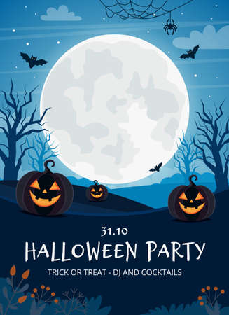 Halloween party flyer template with full moon and pumpkins Ilustracja