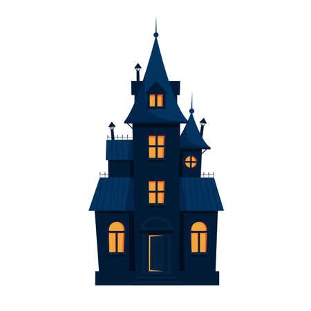 Halloween haunted house cute vector illustration