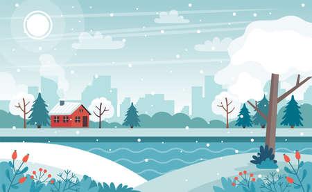 Cute winter landscape vector illustration in flat style Ilustração Vetorial