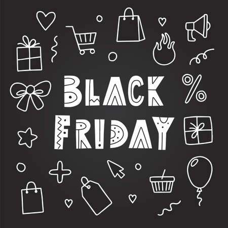 Black friday banner template with doodle elements, vector illustration