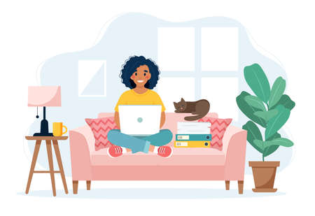 Home office concept, woman working from home sitting on a sofa, remote work concept Vektorové ilustrace