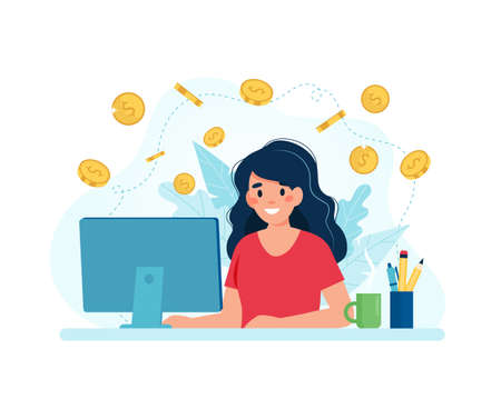 Earn money online, woman with a computer and coins. illustration in flat style 免版税图像