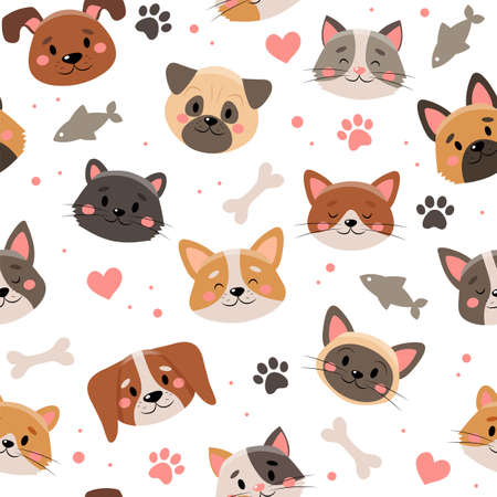 Cute pets pattern, different cats and dogs Stok Fotoğraf