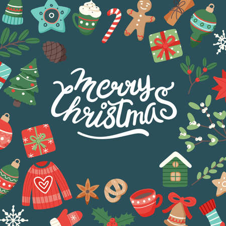 Christmas banner with lettering and cute seasonal elements, vector illustration in flat style Vettoriali