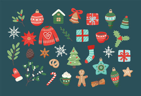 Christmas set, cute seasonal elements, vector illustration in flat style