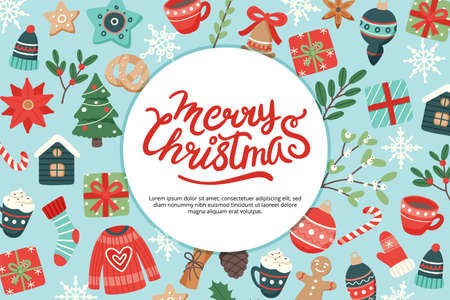 Christmas banner with lettering and cute seasonal elements, vector illustration in flat style Illusztráció