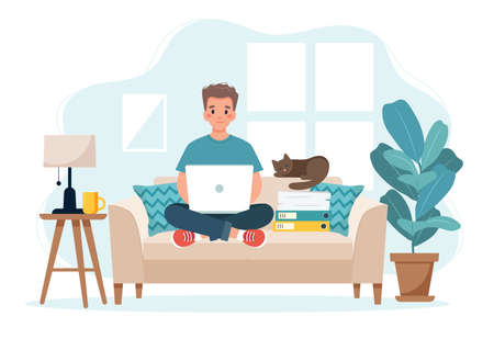 Home office concept, man working from home sitting on a sofa, remote work concept  イラスト・ベクター素材