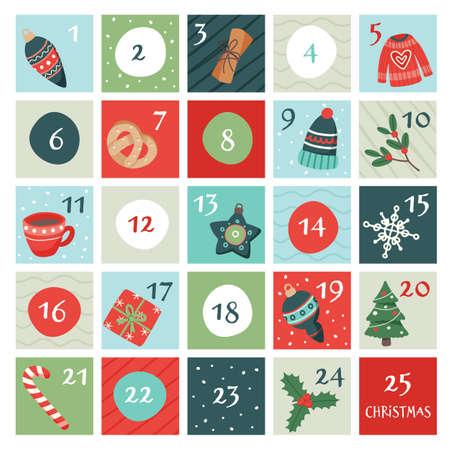 Advent calendar with christmas elements. Vector illustration in flat style Ilustração