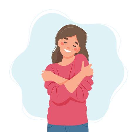 Self love concept, woman hugging herself, vector illustration in flat style Vecteurs