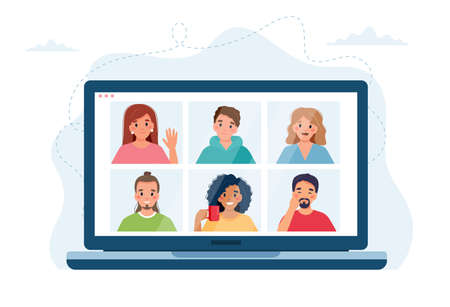 Computer with group of people doing group call. Online meeting via video conference. Vector illustration in flat style