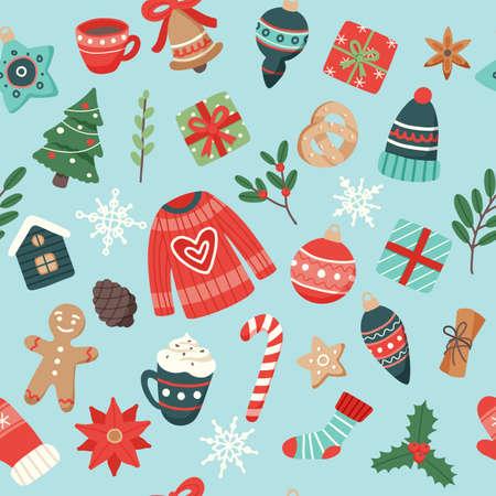 Christmas pattern cute seasonal elements, vector illustration in flat style