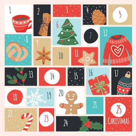 Advent calendar with christmas elements. Vector illustration in flat style Vetores