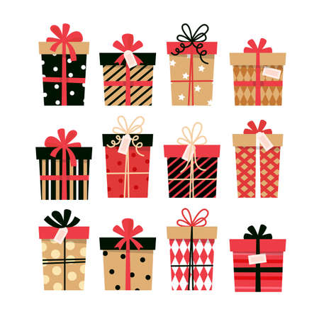 Present boxes collection. Cute design for greeting card. Vector illustration