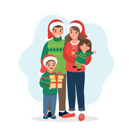 Happy family at christmas. Cute illustration in flat style
