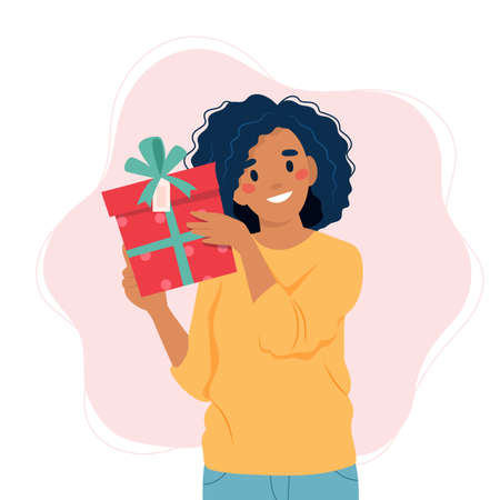 Black woman holding a gift box. Vector illustration template