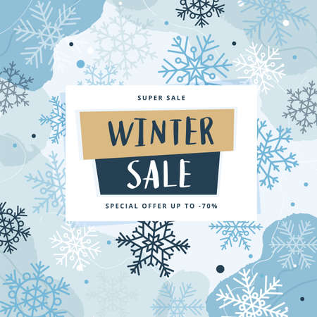 Winter sale abstract modern banner template with snowflakes, vector illustration