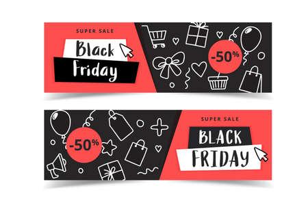 Black friday banner set with doodle elements, vector illustration 向量圖像