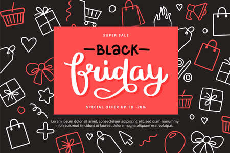 Black friday banner template with lettering and doodle elements, vector illustration 向量圖像