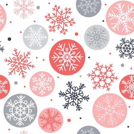 Snowflakes seamless pattern, winter concept vector illustration