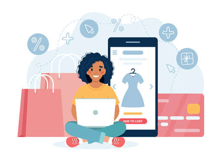 Online shopping concept with black woman character Çizim