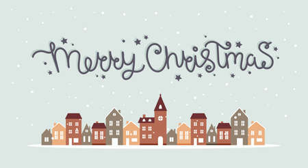 Merry christmas winter houses with snow, cute vector illustration in flat style with lettering Çizim
