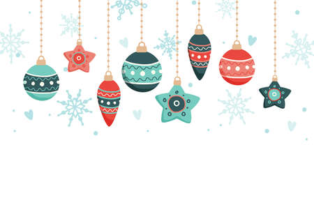 Christmas card with hanging decorations, vector illustration