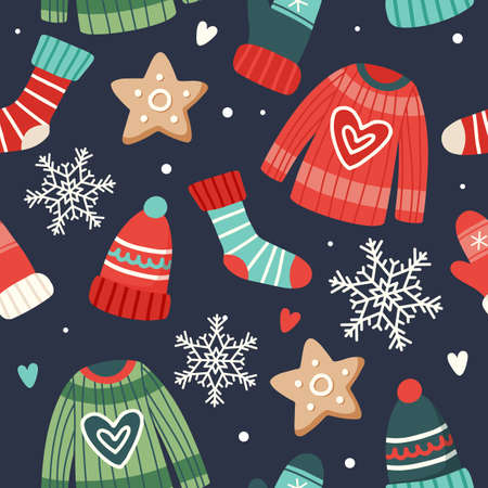 Christmas pattern cute seasonal elements, vector illustration in flat style