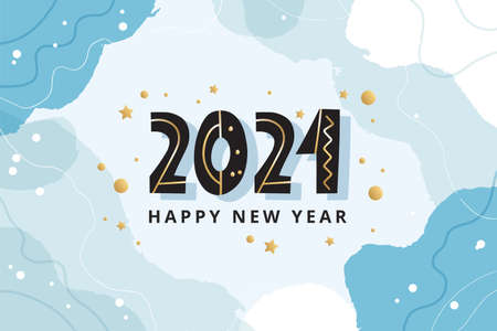 Happy new year 2021 abstract greeting card or banner template, vector illustration Çizim