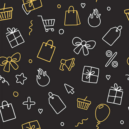 Sale and online shopping set of elements, doodle vector illustration