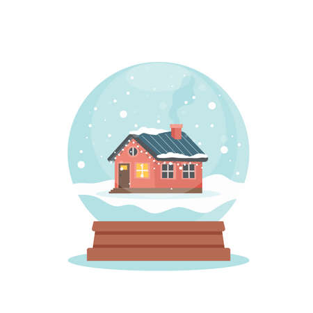 Snow globe with cute winter house, vector illustration in flat style