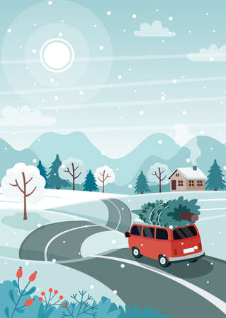 Car with christmas tree on the road. Cute winter landscape. Vector illustration in flat style Çizim