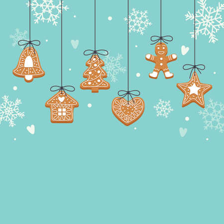 Christmas backgroung with hanging gingerbread cookies Çizim