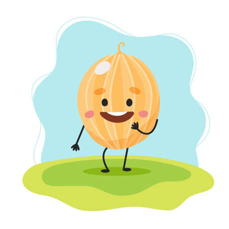 Melon cute character, vector illustration for kids in cartoon style Çizim