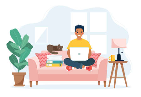 Home office concept, man working from home sitting on a sofa, remote work concept Çizim