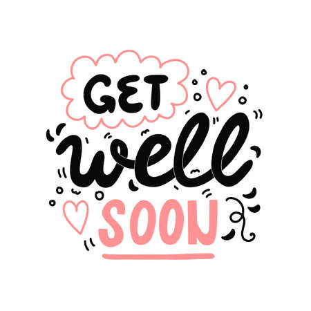 Get well soon, vector hand drawn lettering