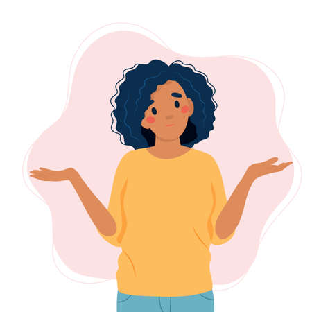 Black woman shrugging with a curious expression, doubt or question, vector illustration in flat style Çizim
