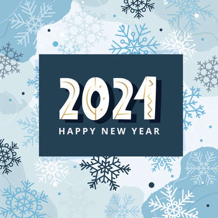 Happy new year 2021 greeting card or banner template with snowflakes, vector illustration