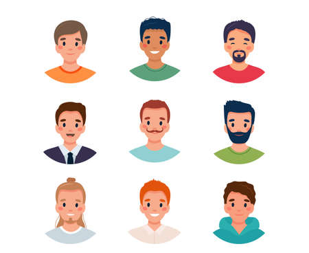 Men avatar set. Diversity group of cute young men. illustration in flat style