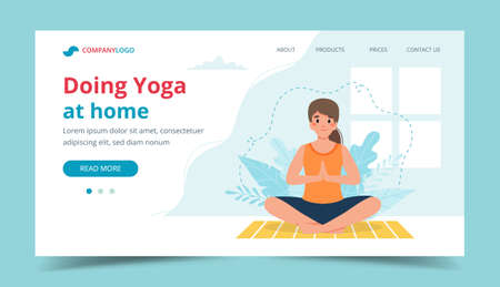 Yoga at home page template. Woman doing yoga with leaves background Stok Fotoğraf