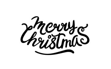 Merry christmas lettering. illustration in flat style