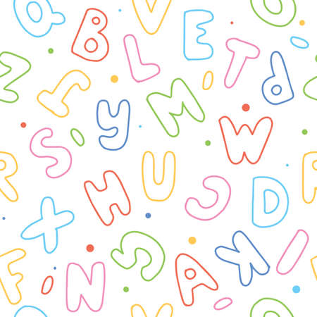 Cute cartoon letters seamless pattern. Colorful vector illustration Çizim