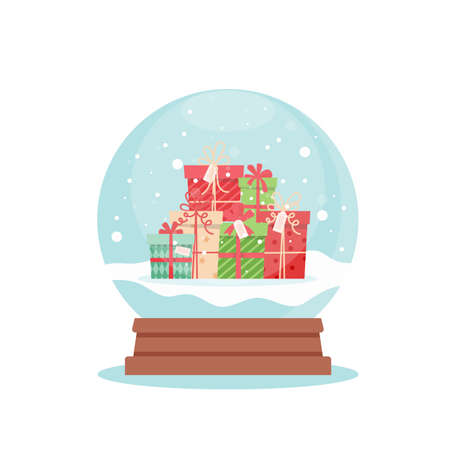 Snow globe with christmas gifts, vector illustration in flat style