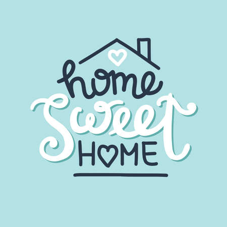 Home sweet home hand drawn lettering composition, vector illustration