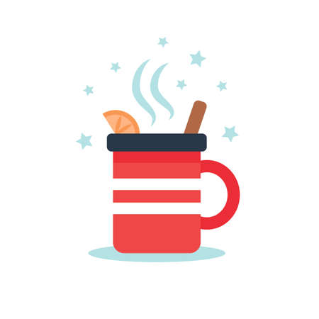 Mulled wine cup, isolated on whiteCute vector illustration in flat style Çizim